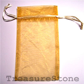 Bag, organza, 3.5x6 inch gold. Pkg of 3 pcs.
