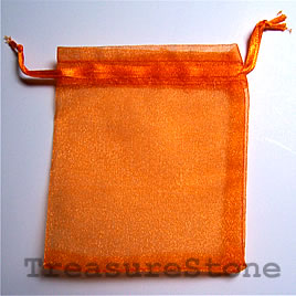 Bag, organza, 3.5x4 inch orange. Pkg of 5pcs.