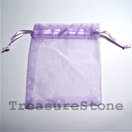 Bag, organza, 3.5x4 inch purple. Pkg of 5pcs.