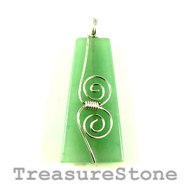 Pendant, aventurine, 25x50mm. Sold individually.