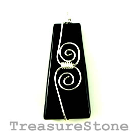 Pendant, black onyx, 25x50mm. Sold individually.