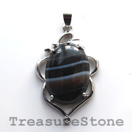 Pendant, black sardonyx. 26x38mm. Sold individually.