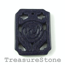 Pendant, Blue Goldstone, 39x51mm carved. Sold individually.