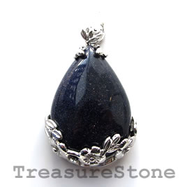 Pendant, blue goldstone. 28x37mm. Sold individually.
