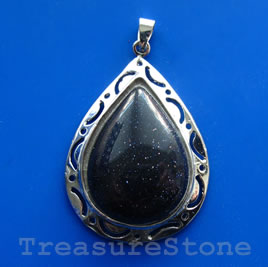 Pendant, blue goldstone. 34x45mm. Sold individually.
