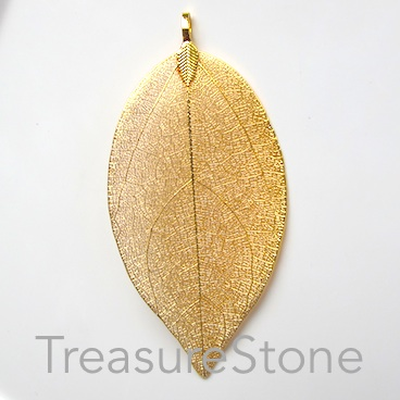 Pendant, gold-colored brass leaf, about 80mm long. Each.