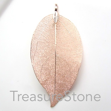 Pendant, rose gold-colored brass leaf, about 80mm long. Each.
