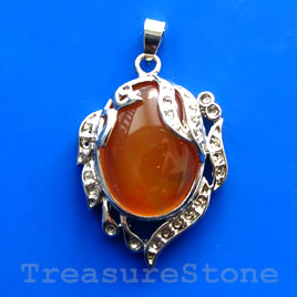 Pendant, carnelian. 30x37mm. Sold individually.