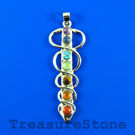 Pendant, chakra, 20x55mm. Sold individually.