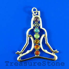 Pendant, chakra, 44x50mm yoga. Sold individually.