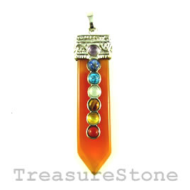 Pendant, chakra, 13x58mm green aventurine. Sold individually.