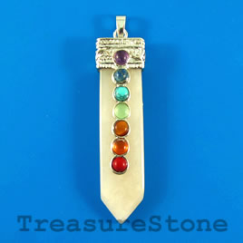 Pendant, chakra, 13x58mm yellow jade. Sold individually.