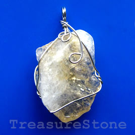 Pendant, citrine. 32x45mm. Sold individually.