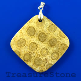 Pendant, Coral Fossil, 48mm diamond. Sold individually.