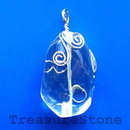 Pendant, crystal quartz. 27x48mm. Sold individually.