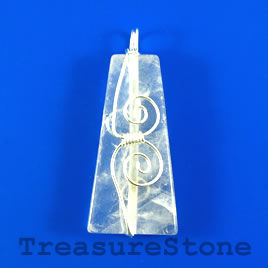 Pendant, crystal quartz, 25x50mm. Sold individually.