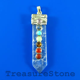 Pendant, chakra, 14x56mm crystal quartz. Sold individually.