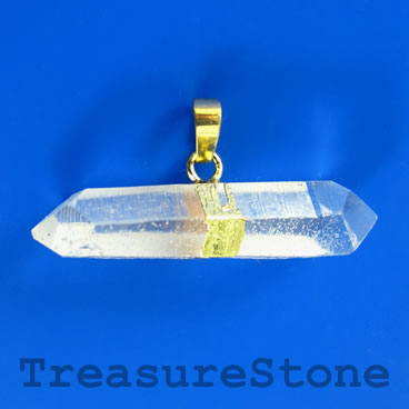 Pendant, crystal quartz shard, 13x48mm. Sold individually.