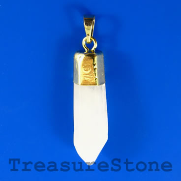 Pendant, crystal quartz. 12x40mm. Sold individually.