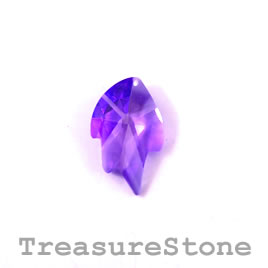 Pendant, Cubic Zirconia, 16x26mm leaf, purple. Sold individually