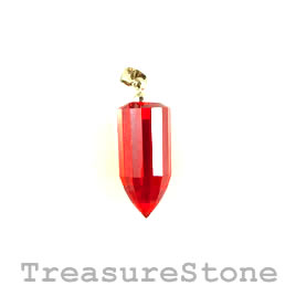 Pendant, Cubic Zirconia, 10x21mm poin, red. Sold individually