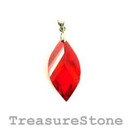Pendant, Cubic Zirconia, 15x30mm, red. Sold individually.