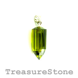 Pendant, Cubic Zirconia, 10x21mm poin, olive green. Each.