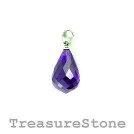 Pendant, Cubic Zirconia, 12x18mm teardrop, purple. Each.