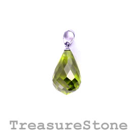 Pendant, Cubic Zirconia, 12x18mm teardrop, olive green. Each.