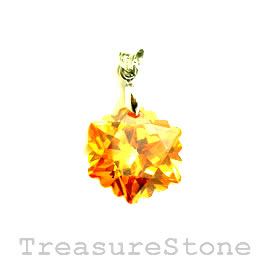 Pendant, Cubic Zirconia, 18mm, gold. Each.