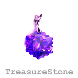 Pendant, Cubic Zirconia, 18mm, purple. Each.