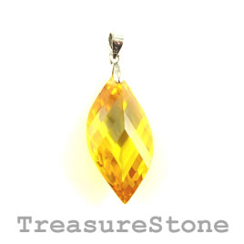 Pendant, Cubic Zirconia, 15x30mm, citrine. Sold individually