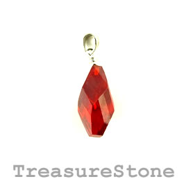 Pendant, Cubic Zirconia, 10x21mm poin, red. Each.