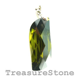 Pendant, Cubic Zirconia, 15x38, olive green. Each.