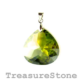 Pendant, Cubic Zirconia, 25mm, olive green. Sold individually