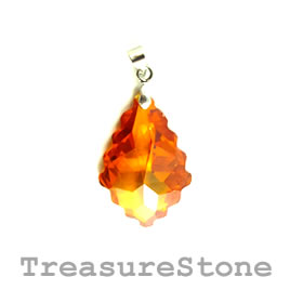 Pendant, Cubic Zirconia, 20x30mm, orange. Each.