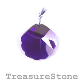 Pendant, Cubic Zirconia, 25mm shell, purple. Each.