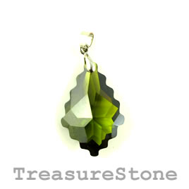 Pendant, Cubic Zirconia, 20x30mm, olive green. Sold individually
