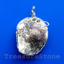 Pendant, druzy agate. 32x42mm. Sold individually.
