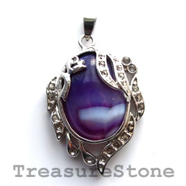 Pendant, dyed agate. 28x37mm. Sold individually.