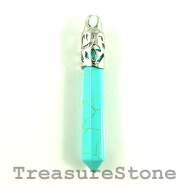 Pendant, dyed turquoise, 11x61mm. Sold individually.