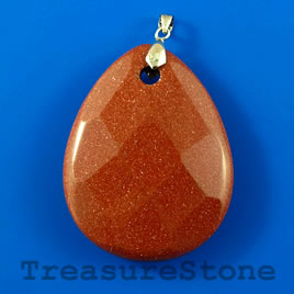 Pendant, Goldstone, 35x45mm faceted teardrop. Sold individually.
