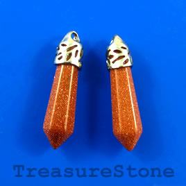 Pendant, Goldstone, 8x30mm. Pkg of 2.