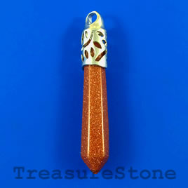 Pendant, Goldstone, 11x55mm. Sold individually.