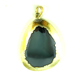 Pendant, gold-plated hematite, 36x45m. Sold individually.
