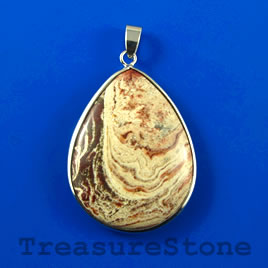Pendant, Jasper, 32x42mm teardrop. Sold individually.