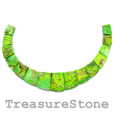 Bead/Pendant, jasper, dyed, green turquoise , 18-40mm. Pkg of 15