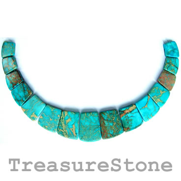 Pendant, jasper, dyed, turquoise colour, 18-40mm. Pkg of 15