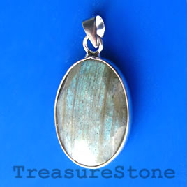 Pendant, faceted labradorite. 19x26mm. Sold individually.