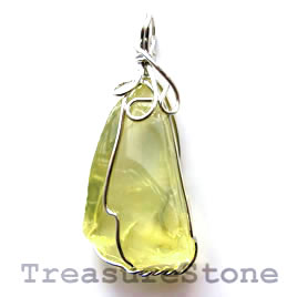 Pendant, lemon quartz. 20x35mm. Sold individually.